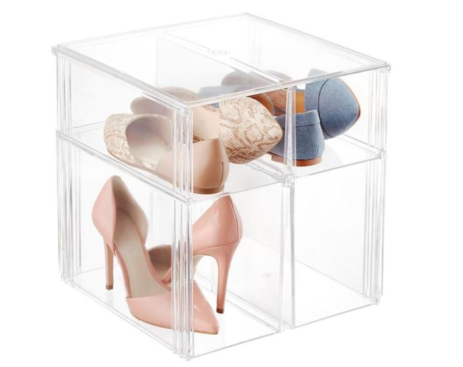 clear shoe bins